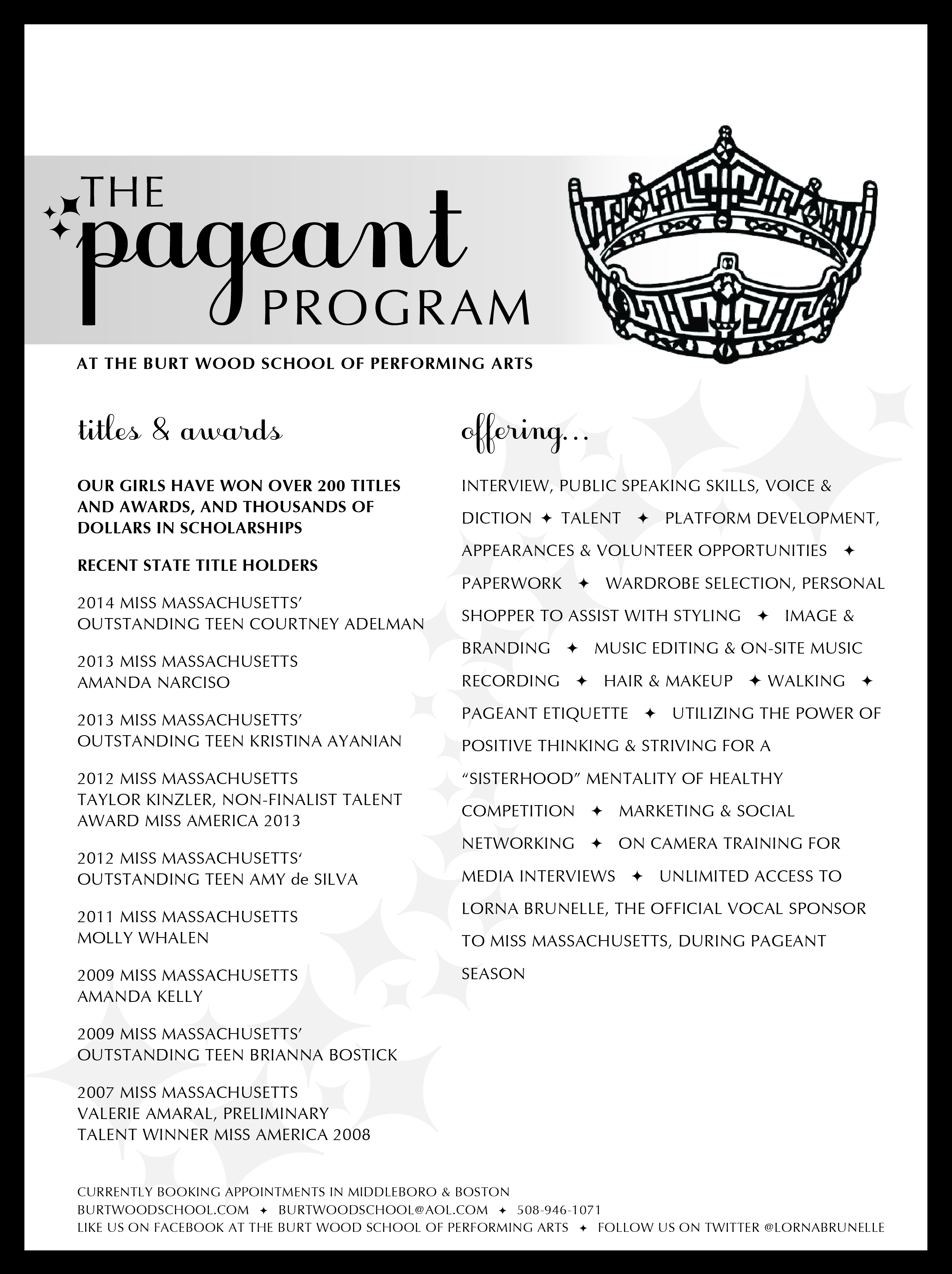 Pageant Program | The Burtwood School of Performing Arts